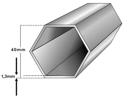 Rahmenprofil für Faltzelt mit 40mm 6-Kant. Das ist stabil und dennoch nicht so schwer.