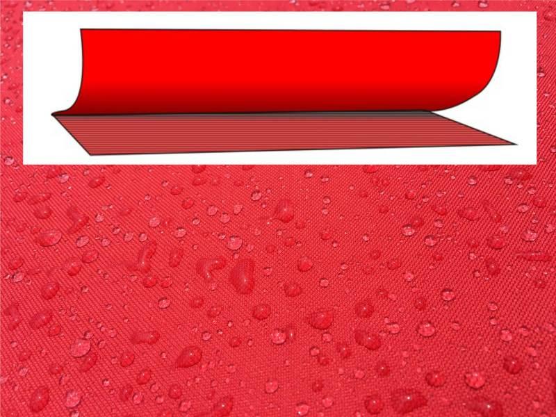 Die wasserdichten Planen bestehen aus 2 Lagen. Außen das hochfeste Polyestergewebe und innen die wasserdichte Beschichtung.